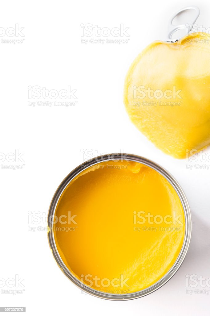 Organic butter in can storage stock photo