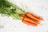 organic carrots harvested from the vegetable garden on white painted wood with copy space, selected focus