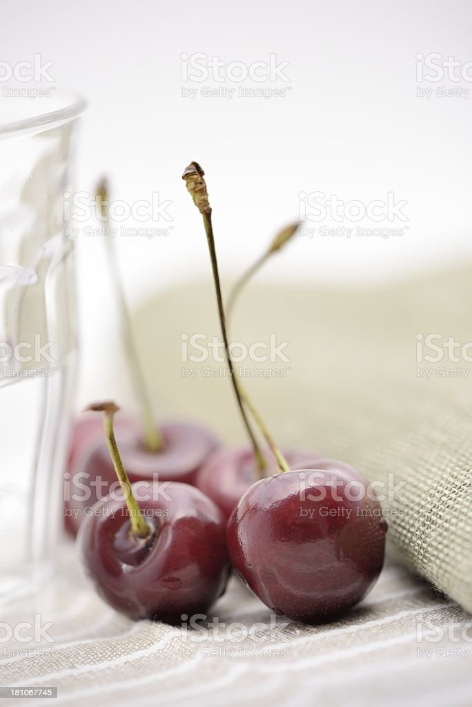 Organic Cherries on a Table royalty-free stock photo