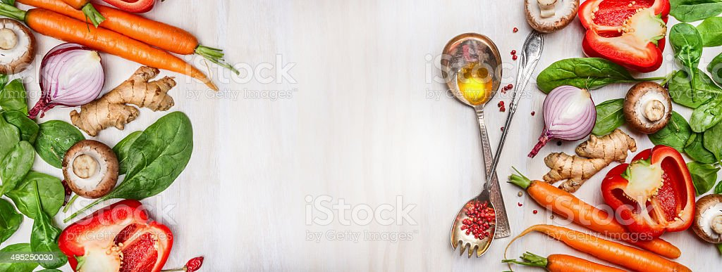 Organic clean vegetables assorted, banner. stock photo