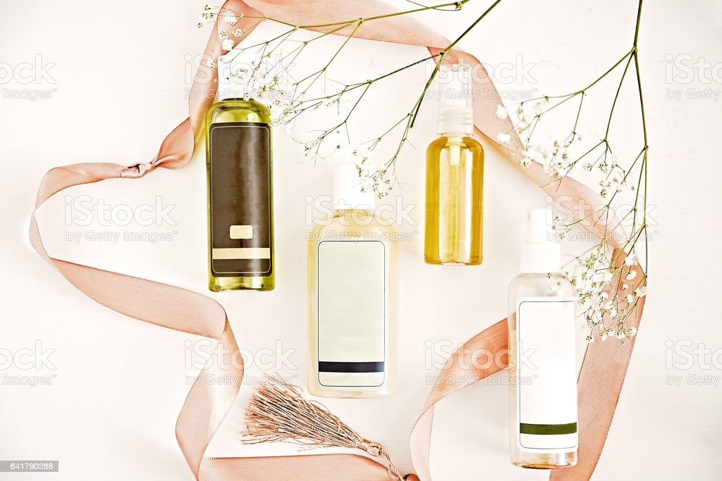 Organic cleanser oils and toner.  Woman's skincare routine. Beauty blogger flat lay concept stock photo