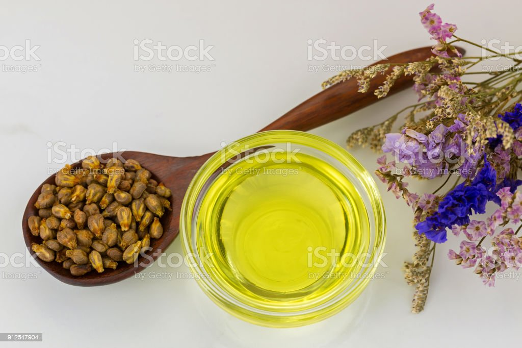 Organic cold pressed grapeseed oil in clear bowl with dried grape seeds in wooden spoon stock photo