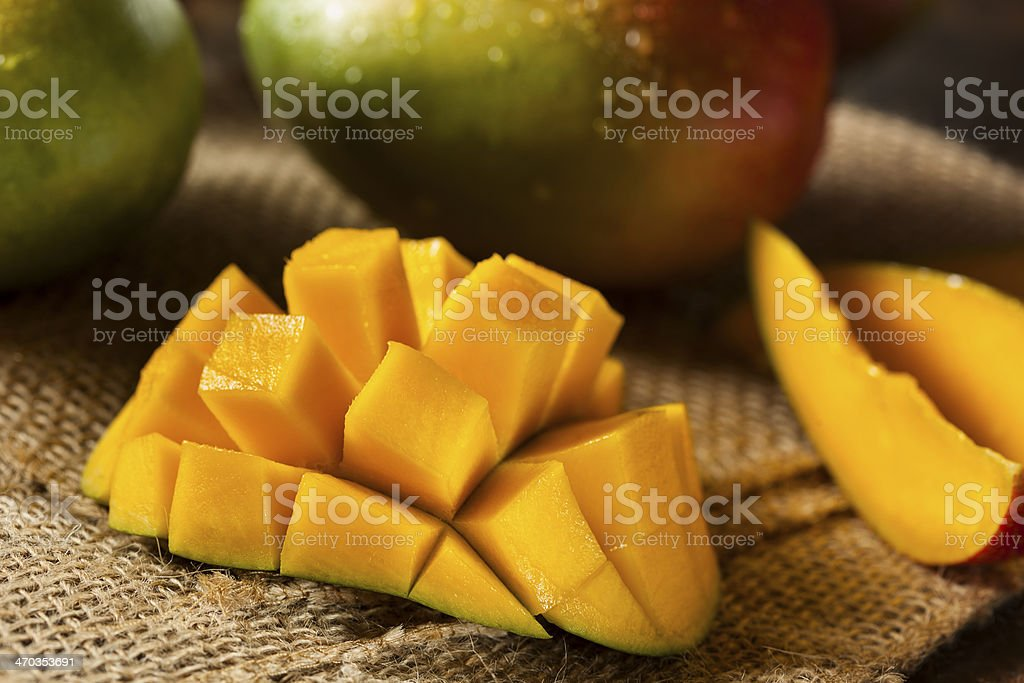 Organic Colorful Ripe Mangos stock photo