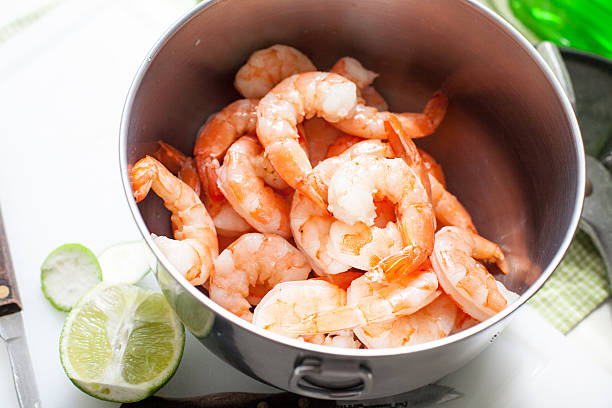 Organic Cooked Shrimp stock photo