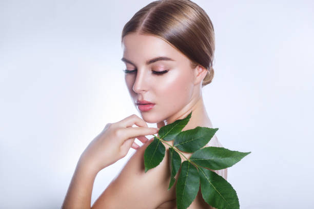 organic cosmetic . Beautiful woman face portrait with green leaf , concept for skin care or organic cosmetics stock photo