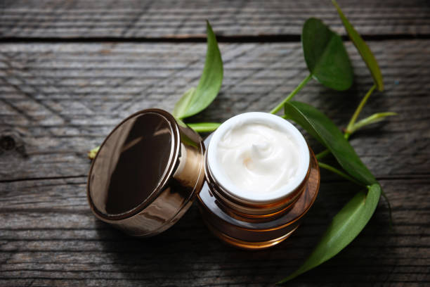 Organic creams, lotions for the face and body. stock photo