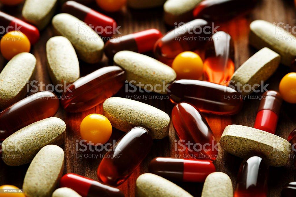 Organic dietary treatment, vitamin capsules stock photo