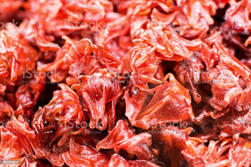 Organic Dried Hibiscus Flower Background Stack Of Candied Hibiscus