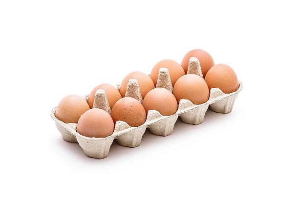 organic egg pack isolated on white - eierverpackung stock-fotos und bilder
