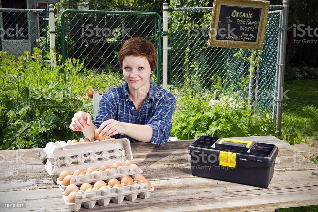 Organic eggs for sale stock photo
