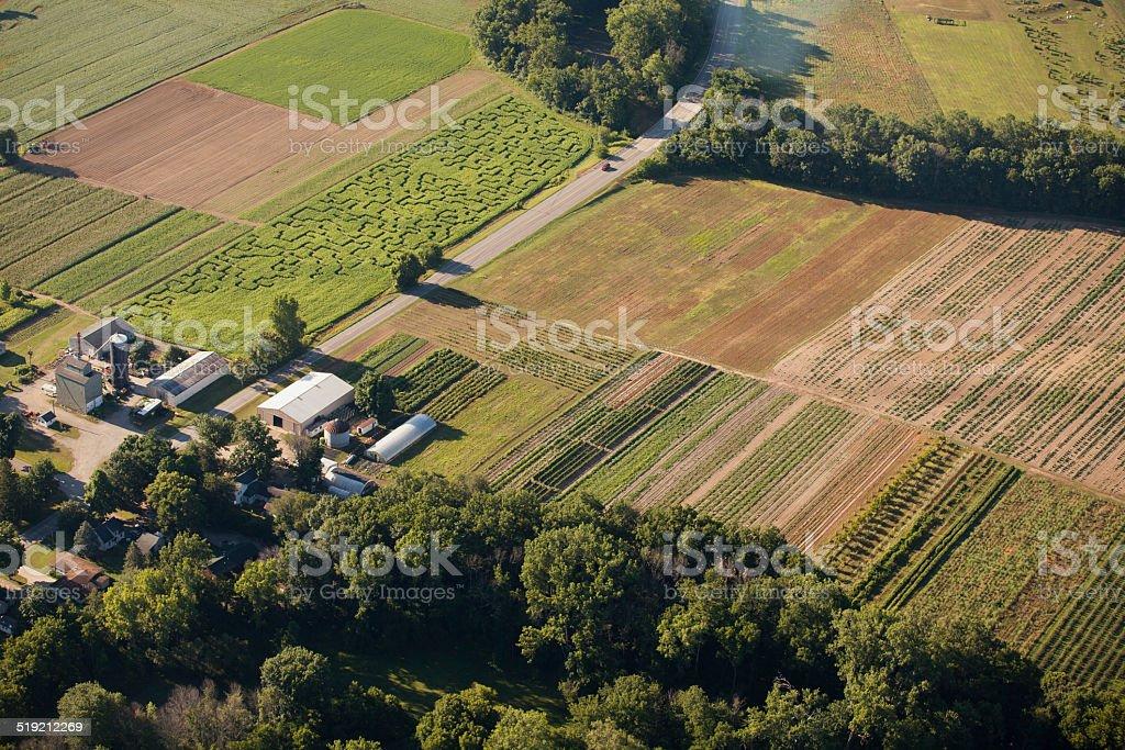 Organic Farm and Buildings stock photo