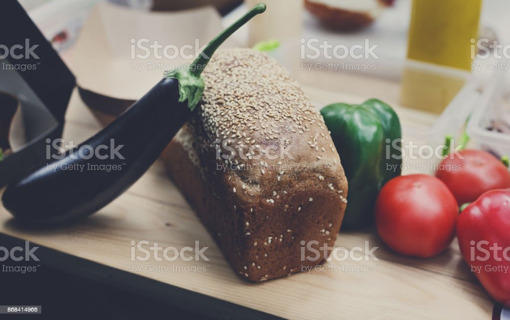 Organic farmers food market, fresh bread and vegetables stock photo