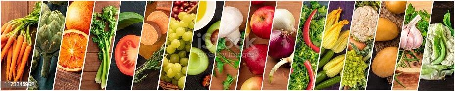 istock Organic Food Collage. Many photos of fresh vegetables, panoramic vegan design 1173345962