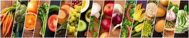 Organic Food Collage. Many photos of fresh vegetables, panoramic vegan design stock photo