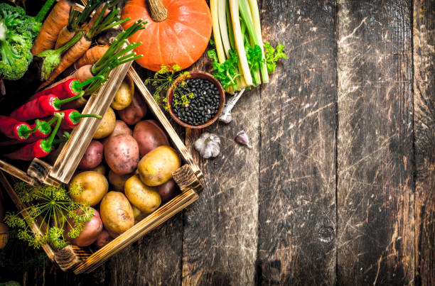 Organic food. Harvest of fresh vegetables in old boxes. stock photo