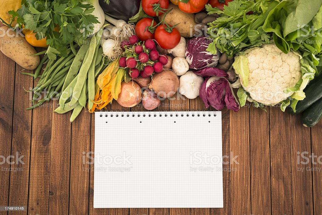 organic food mix with blank notepad royalty-free stock photo