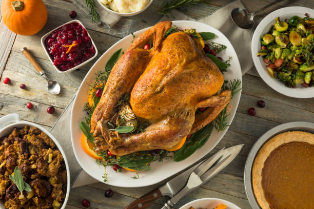 organic free range homemade thanksgiving turkey - thanksgiving stock photos and pictures