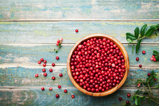 organic fresh cowberry (lingonberry, partridgeberry, foxberry) in wooden bowl on rustic vintage table top view. - cranberry stock photos and pictures