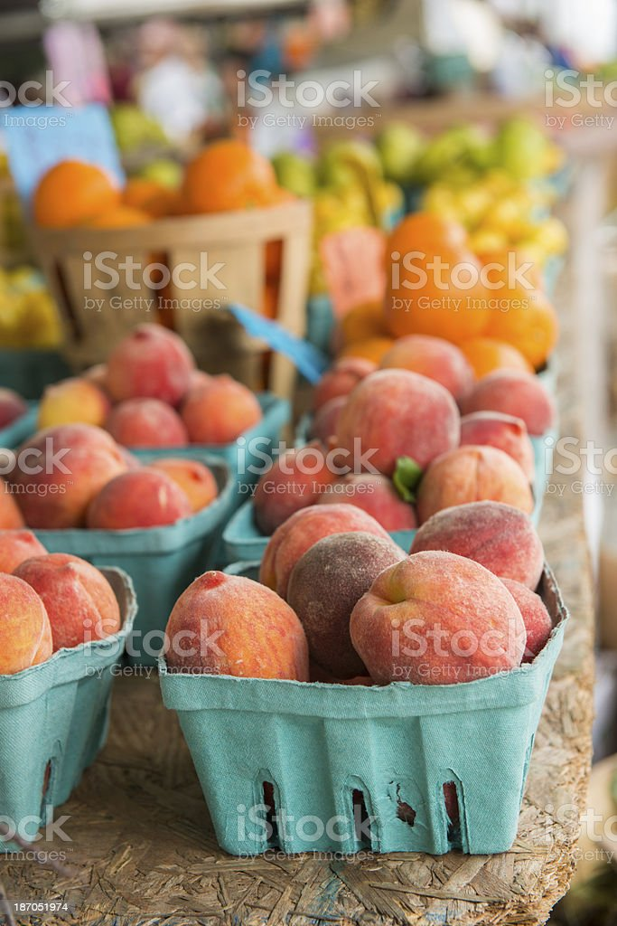 Organic Fresh Fruit Stand Selling Summer Produce in New York royalty-free stock photo