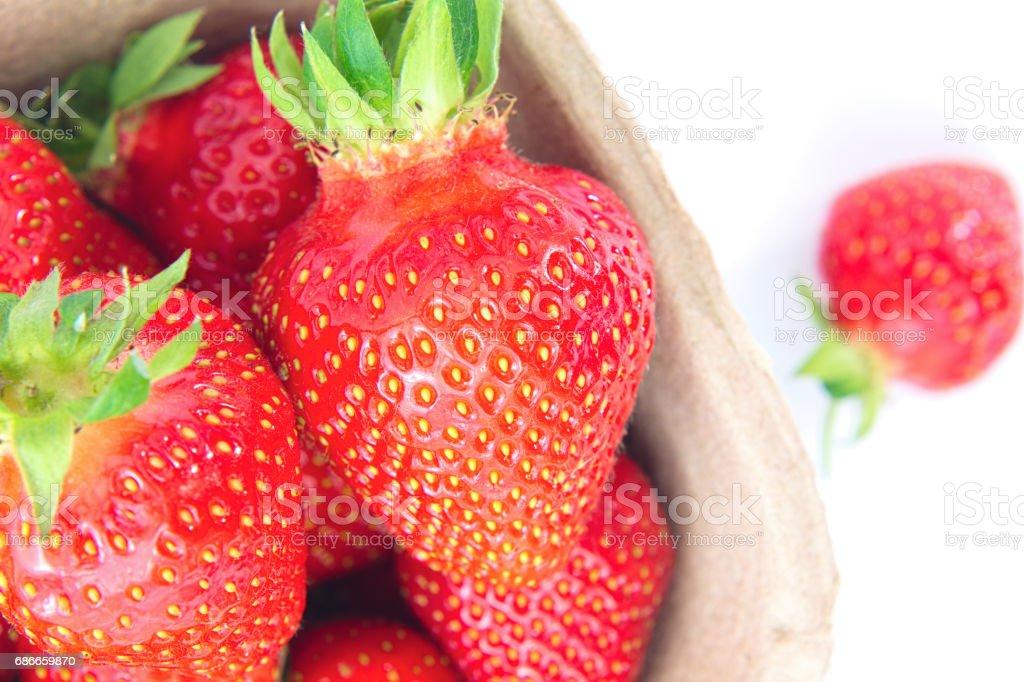 Organic fresh strawberries fruit isolated on white background royalty-free stock photo