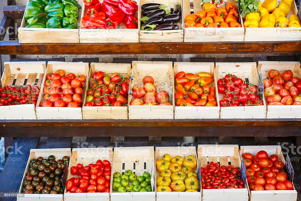 Organic fresh tomatoes from mediterranean farmers market in Ital stock photo