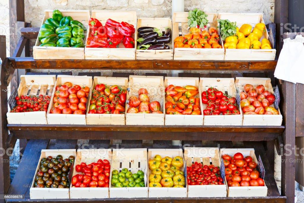 Organic fresh tomatoes from mediterranean farmers market in Port stock photo