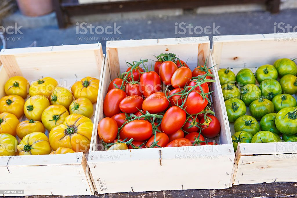 Organic fresh tomatoes from mediterranean farmers market in Prov stock photo