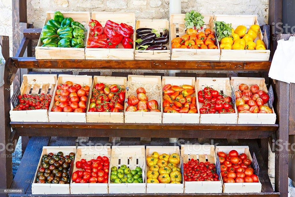 Organic fresh tomatoes from mediterranean farmers market in Spai stock photo