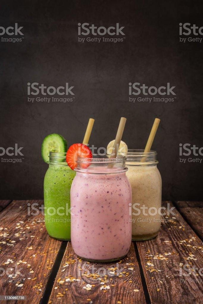Organic Fruit Smoothies stock photo