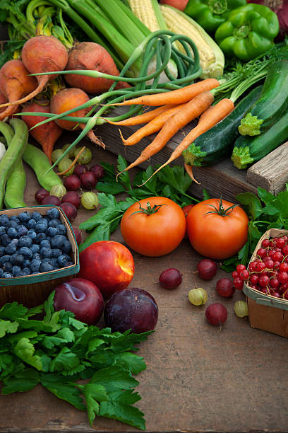 Organic fruits and vegetables at farmers' market stock photo