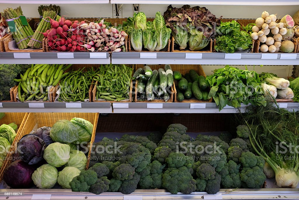 Organic Fruits and vegetables on a supermarket stock photo