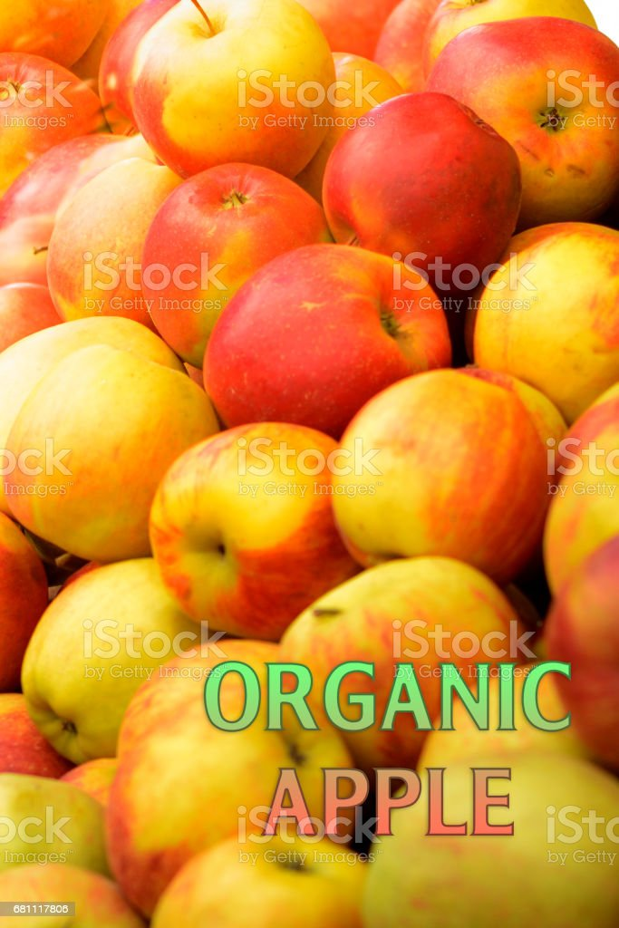 Organic garden apples with lable Organic garden apple stock photo