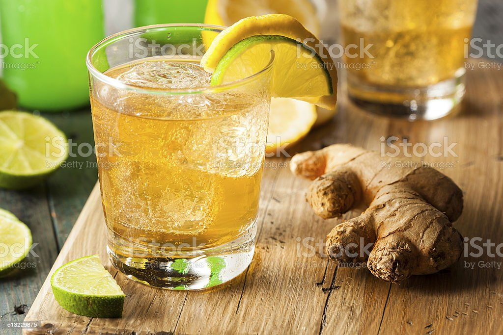 Organic Ginger Ale Soda stock photo