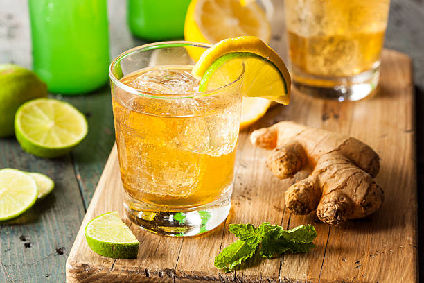 organic ginger ale soda - ginger stock photos and pictures