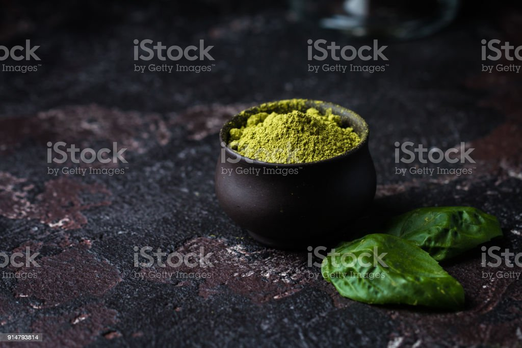 Organic Green Matcha Tea. stock photo