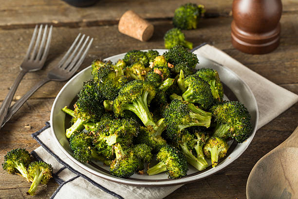 Organic Green Roasted Broccoli Florets stock photo