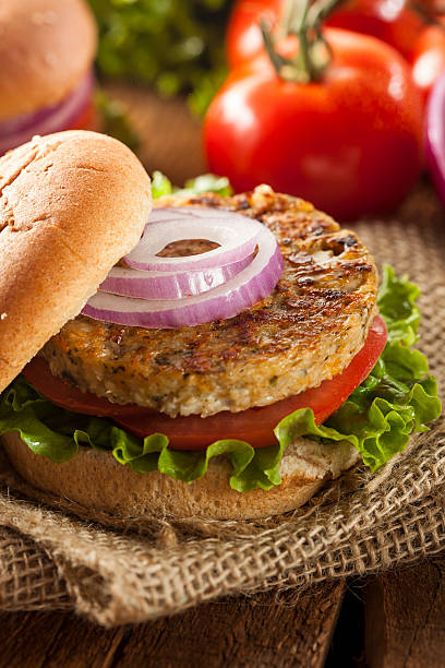 Organic Grilled Black Bean Burger stock photo