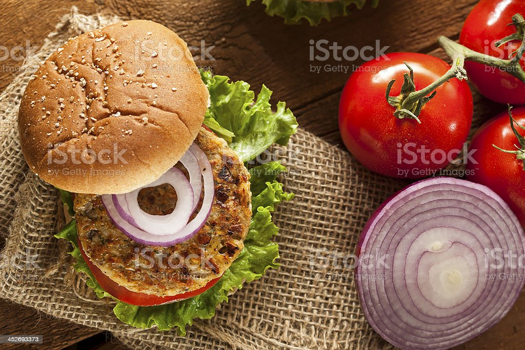 Organic grilled black bean burger with red onion and tomato stock photo