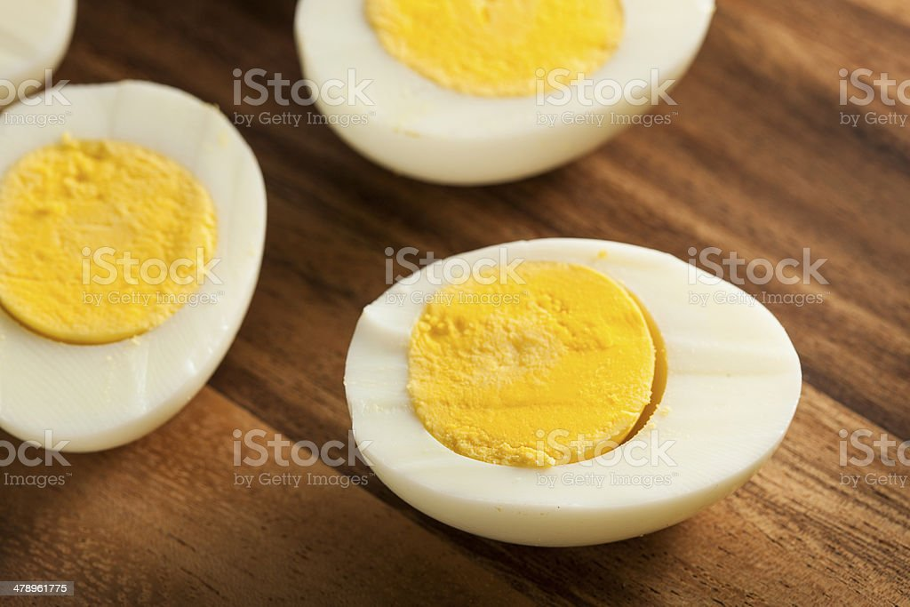 Organic Hard Boiled Eggs stock photo