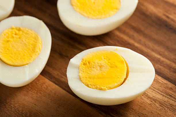 Organic Hard Boiled Eggs stock photo