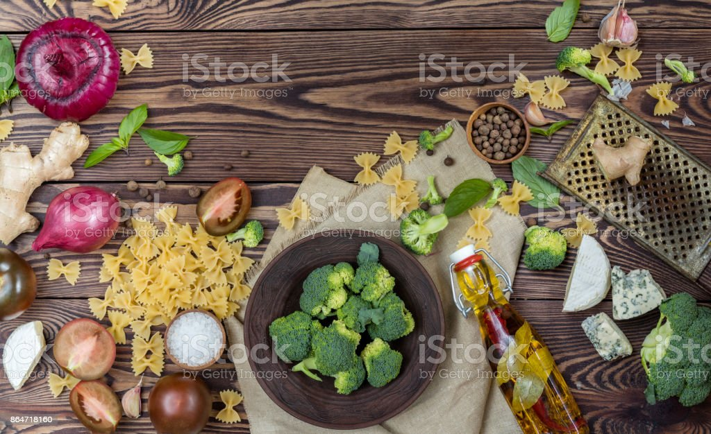 Organic healthy food on wooden background royalty-free stock photo