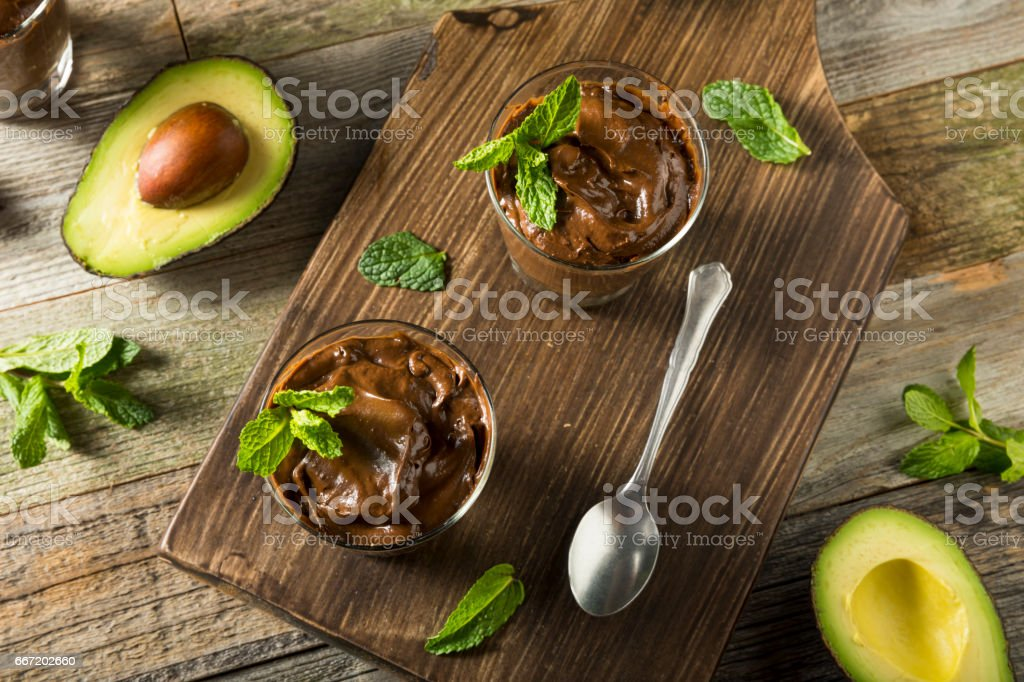 Organic Healthy Homemade Avocado Pudding stock photo