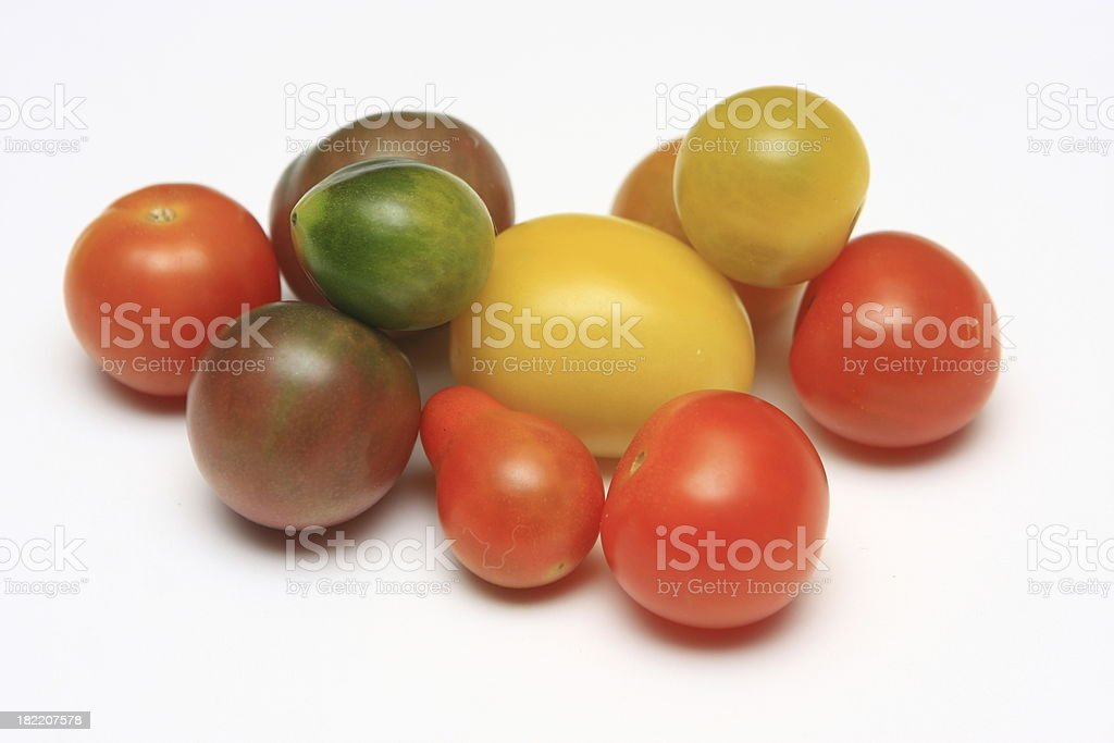 Organic hierloom tomatos royalty-free stock photo