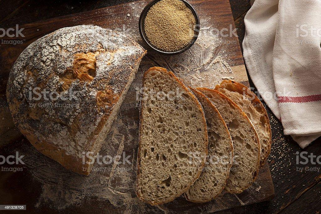 Organic Homemade Ancient Grain Bread stock photo
