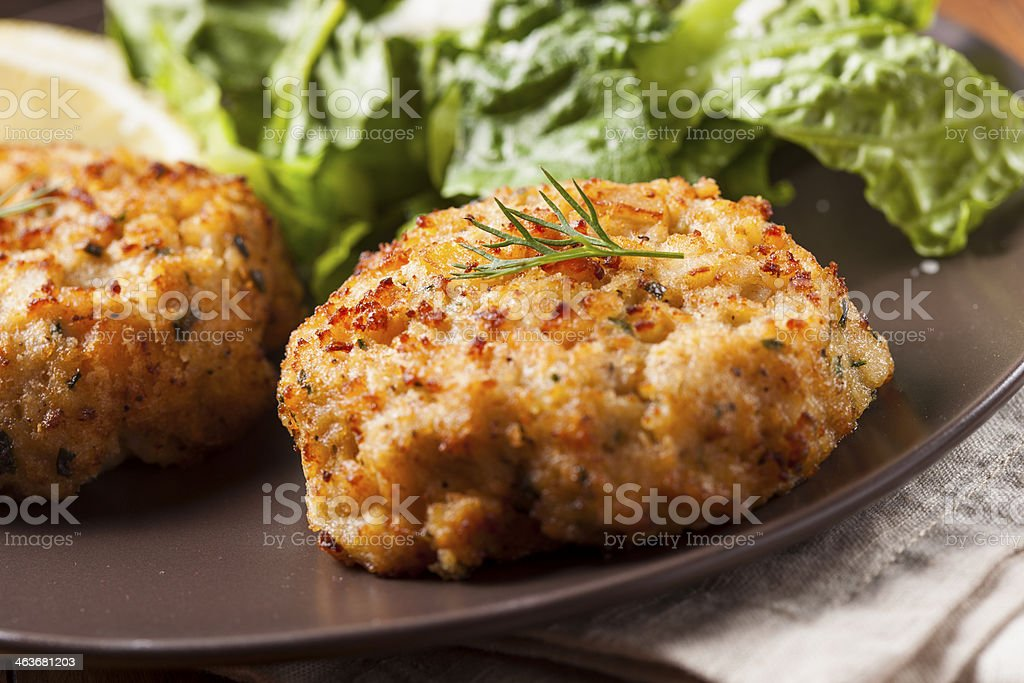 Organic Homemade Crab Cakes royalty-free stock photo