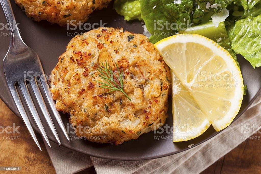 Organic Homemade Crab Cakes stock photo