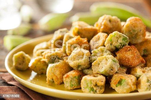 Organic Homemade Fried Green Okra against a Background