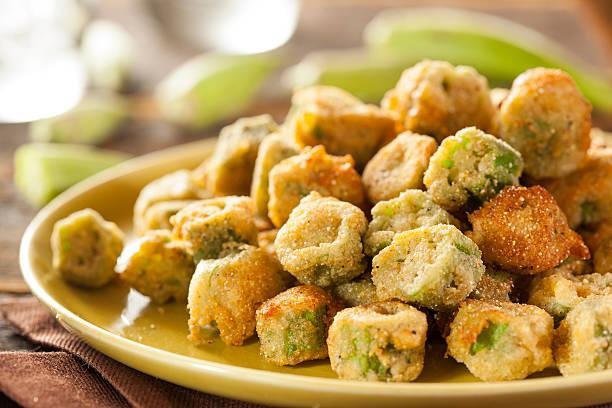 organic homemade fried green okra - kızartılmış stok fotoğraflar ve resimler