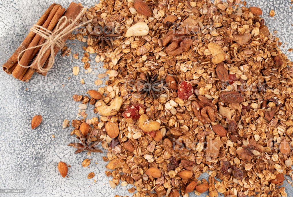 Organic homemade Granola Cereal with oats, almond, anise and cinnamon. Texture oatmeal granola or muesli as background. Top view or flat-lay.