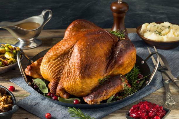 organic homemade smoked turkey dinner for thanksgiving - turkey zdjęcia i obrazy z banku zdjęć